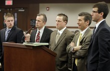 MATTHEW ARDEN HATFIELD  |  Standard-Examiner pool photo  Skyler Shepherd, attorney Glen Neeley, Robert Cole Boyer, attorney Greg Skordas and Colton Raines, from left, appear before the 2nd District Court in Ogden Wednesday. Shepherd, Boyer and Raines are charged in connection to the death of Ester Fujimoto after Fujimoto was struck by a boat while swimming in Pineview Reservior.
