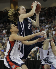 Brigham Young's Lexi Eaton, right, goes up for a shot against Gonzaga's Haiden Palmer in the second half during the NCAA West Coast Conference tournament championship basketball game, Monday, March 5, 2012, in Las Vegas. BYU won 78-66. (AP Photo/Julie Jacobson)