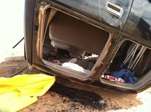 The rolled Chevrolet Suburban from a car crash in Arizona near the Utah border that killed four teens and one adult. Courtesy KUTV
