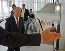 Director General of the International Atomic Energy Agency, IAEA, Yukiya Amano from Japan arrives for the IAEA board of governors meeting at the International Center, in Vienna, Austria, on Thursday, March 8, 2012. (AP Photo/Ronald Zak)