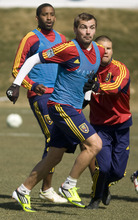 Leah Hogsten     The Salt Lake Tribune Jonny Steele is one of the new players for Real Salt Lake, above practicing with the team March 8, 2012. Steele has played in an astonishing number of leagues all over the world in order to get another shot at to join the team.