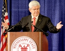Republican presidential candidate, former House Speaker Newt Gingrich speaks to a crowd at the Mississippi State University Riley Center in downtown Meridian, Miss. on Friday, March 9, 2012. (AP Photo/The Meridan Star, Paula Merritt))