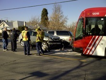 Photo courtesy Utah Transit Authority  A driver suffered minor injures Friday after her SUV struck a Utah Transit Authority bus head-on in Salt Lake City. The accident happened about 8:30 a.m. near 1100 E. Michigan Ave. (990 South).