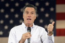 Republican presidential candidate, former Massachusetts Gov. Mitt Romney speaks at a town hall meeting at Eagle Manufacturing Corporation in Shelby Township, Mich., Tuesday, Mich., Feb. 21, 2012. (AP Photo/Gerald Herbert)