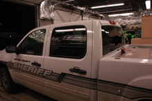 A Uintah County Sheriff's truck sits in a garage after a driver fired bullets into its front and windshield, according to the sheriffs office. Dallas Rowley, 66, is suspected in the Thursday, March 8, 2012, shooting. The deputy was not injured. Photo courtesy Uintah County Sheriff's Office.