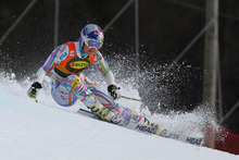 United States's Lindsey Vonn skis down to the course on her way to clock the fastest time during the first run of  a women's Alpine Ski World cup giant slalom competition in Are, Sweden, Friday, March 9, 2012. (AP Photo/Alessandro Trovati)