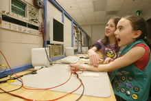 Tribune file photo  Girl scout, Sima Namin 11, works in the electrode lab at the UofU with Sabrine Bourija, 10,  Troop 2130,  as members of the Society of Women Engineers  instructed more than 150 Girl Scouts in grades 4-12 in engineering-related projects, including studying circuits, bridges and robots, as part of Girl Scout Engineering Day, Thursday, February 18, 2010