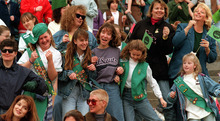 Tribune file photo  Utah Girl Scouts both young and old gather at the state capitol steps to celebrate 85 years of Girl Scouting in 1997.
