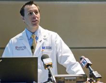 Paul Fraughton  |  The Salt Lake Tribune Physician Shamus Carr, assistant professor in the Department of Surgery at the University of Utah, talks about low-dose CT screening for the detection of lung cancers at a press conference Friday, March 9, 2012, at the Huntsman Cancer Institute in Salt Lake City.