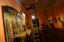 Leah Hogsten   The Salt Lake Tribune   Catherine Fischer works in November to restore a 500-year-old fresco titled