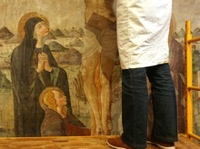 Leah Hogsten   The Salt Lake Tribune   Catherine Fischer is restoring a 500-year-old fresco titled