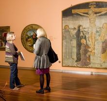 Utah Museum of Fine Arts director Gretchen Dietrich talks with art restorer Catherine Orange Fischer. (Courtesy photo)