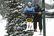 Chris Detrick  |  The Salt Lake Tribune With the help of Wasatch Adaptive Sports instructor Dave Watson, Marine veteran Katherine Ragazzino, 35, of San Diego, rides the Chickadee lift during the Soldiers to the Summit event at Snowbird Resort on Wednesday February 29, 2012. Ragazzino served in the Marines for 12.5 years and was deployed in Afghanistan, Iraq, Kuwait. Fifteen disabled veterans from around the country participated in a variety of snow activities such as skiing, snowboarding, snowshoeing and snowmobiling. World T.E.A.M. Sports worked with Wasatch Adaptive Sports and Snowbird Resort for this event.