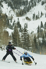 Chris Detrick  |  The Salt Lake Tribune With the help of Wasatch Adaptive Sports instructor Dave Watson, Marine veteran Katherine Ragazzino, 35, of San Diego, skis down Chickadee during the Soldiers to the Summit event at Snowbird Resort Wednesday February 29, 2012. Ragazzino served in the Marines for 12.5 years and was deployed in Afghanistan, Iraq, Kuwait. Fifteen disabled veterans from around the country participated in a variety of snow activities such as skiing, snowboarding, snowshoeing and snowmobiling. World T.E.A.M. Sports worked with Wasatch Adaptive Sports and Snowbird Resort for this event.