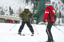 Chris Detrick  |  The Salt Lake Tribune Marine veteran Victor Montiel learns how to ski from patrol member Marguerite Van Komen on the Chickadee run during the Soldiers to the Summit event at Snowbird Snowbird Resort Wednesday February 29, 2012. Fifteen disabled veterans from around the country participated in a variety of snow activities such as skiing, snowboarding, snowshoeing and snowmobiling. World T.E.A.M. Sports worked with Wasatch Adaptive Sports and Snowbird Resort for this event.