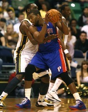 Rick Egan  | The Salt Lake Tribune   Utah Jazz center Al Jefferson (25) guards Detroit Pistons power forward Greg Monroe (10) in NBA action,  Jazz vs. Detroit game, Monday, March 12, 2012.