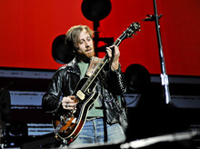 Guitarist/vocalist Dan Auerbach of The Black Keys performing at Madison Square Garden on Monday, March 12, 2012 in New York.  (AP Photo/Evan Agostini)