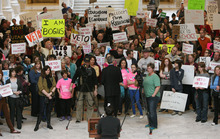 Steve Griffin  |  The Salt Lake Tribune   Hundreds of people rally in the state capitol rotunda, in Salt Lake City, Utah  Wednesday, March 14, 2012, to urge Utah governor Gary Herbert to veto HB363, the sex education bill.
