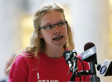 Steve Griffin  |  The Salt Lake Tribune   West High School junior Zoe Diener, 17, talks to hundreds of people during rally at the state capitol rotunda in Salt Lake City, Utah  Wednesday, March 14, 2012. The group is trying to urge Utah governor Gary Herbert to veto HB363, the sex education bill.