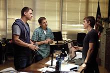 Jenko (Channing Tatum, left) and Schmidt (Jonah Hill, center) meet a student drug dealer (Dave Franco) in the cop comedy