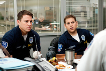 In this image released by Columbia Pictures, Channing Tatum, left, and Jonah Hill are shown in a scene from the film