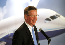 Al Hartmann  |  The Salt Lake Tribune Ross Bogue, vice president and general manager for Boeing's commercial aircraft division, speaks to guests in Salt Lake City on Thursday March 15 to introduce the new Boeing 787 Dreamliner.