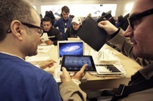 Richard Drew  |  The Associated Press  The third iteration of the iPad, which went on sale nationally Friday, boasts a higher-resolution