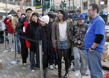Al Hartmann  |  The Salt Lake Tribune Apple fans lined up in front of the Apple Store at The Gateway in Salt Lake City early Friday to be among the first to buy  the new iPad when the store opened at at 8 a.m.