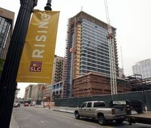 Tribune file photo The residential high-rise on 100 South has many of its glass panels in place in this 2010 photo.