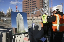 Tribune file photo An artist's representation is on display at the City Creek construction site before a major concrete pour began in 2008.