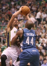 Paul Fraughton | The Salt Lake Tribune. The Utah Jazz played the Minnesota Timberwolves at Energy Solutions Arena.  Thursday, March 15, 2012