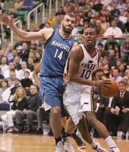 Paul Fraughton | The Salt Lake Tribune. Utah's Alec Burks drives the baseline past Minnesota's Nikola Pekovic.The Utah Jazz played the Minnesota Timberwolves at Energy Solutions Arena.  Thursday, March 15, 2012