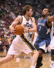 Paul Fraughton | The Salt Lake Tribune. Utah's Gordon Hayward drives past Minnesota's Derrick Williams. The Utah Jazz played the Minnesota Timberwolves at Energy Solutions Arena.  Thursday, March 15, 2012