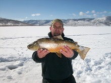 Courtesy photo  Trent Peery, of Santaquin, landed this 26-inch tiger trout at Scofield Reservoir on Feb. 16 -- just hours after landing the new Utah record tiger trout weighing just over 15 pounds. He landed his two biggest trout of all time on the same day.