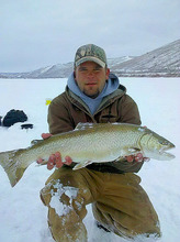 Couresty photo Zane Nielsen of Pleasant Grove caught and released a 27-inch tiger trout on Feb. 15, 2012, while fishing at Scofield Reservoir. The fish is the new catch-and-release record for Utah.