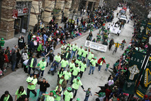 Scott Sommerdorf  |  The Salt Lake Tribune The St. Patrick's Day Parade winds through The Gateway last year.