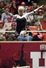 Chris Detrick  |  The Salt Lake Tribune Utah's Kyndal Robarts competes on the beam during the gymnastics meet against Oregon State at the Huntsman Center Friday March 2, 2012. Utah won 196.575 to 195.600.