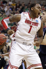 Ohio State's Deshaun Thomas (1) celebrates a basket late in the first half of an NCAA tournament third-round college basketball game against Gonzaga in Pittsburgh, Saturday, March 17, 2012. ( AP Photo/Gene J. Puskar)