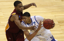 Kentucky forward Anthony Davis (23) is guarded by Iowa State guard Chris Allen (4) in the second half of their NCAA third-round tournament college basketball game in Louisville, Ky., Saturday, March 17, 2012. Kentucky beat Iowa State 87-71. (AP Photo/Dave Martin)