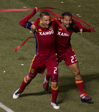Trent Nelson  |  The Salt Lake Tribune Real Salt Lake's Luis Gil (21), left, celebrates his second half goal with teammate Real Salt Lake's Paulo Junior (23). Real Salt Lake vs. New York Red Bulls, MLS Soccer Saturday, March 17, 2012 at Rio Tinto Stadium in Sandy, Utah.