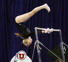 Utah's Hailee Hansen competes on the bars during an NCAA college gymnastics meet against Florida, Friday, March 16, 2012, in Gainesville, Fla. Florida won the meet. (AP Photo/The Gainesville Sun, Brad McClenny)  THE INDEPENDENT FLORIDA ALLIGATOR OUT; MAGS OUT