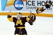 Minnesota goalie Noora Raty celebrates against Wisconsin at the end of the NCAA women's college hockey championship game, Sunday, March 18, 2012, in Duluth, Minn. Minnesota won 4-2. (AP Photo/The Star Tribune, Marlin Levison)  MANDATORY CREDIT; ST. PAUL PIONEER PRESS OUT; MAGS OUT; TWIN CITIES TV OUT