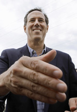 Republican presidential candidate, former Pennsylvania Sen. Rick Santorum shakes hands with supporters after speaking at a campaign rally, Monday, March 19, 2012, in Dixon, Ill. Dixon, the boyhood home of former President Ronald Reagan. (AP Photo/Seth Perlman)