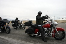 Kim Raff     The Salt Lake Tribune Riders drive the final leg after making a pit stop Sunday at the Miller Motorsports Park in Grantsville during the 35th annual Polar Bear Ride to celebrate the 70th anniversary of the Salt Lake Motorcycle Club.