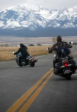 Kim Raff    The Salt Lake Tribune Riders drive toward the Miller Motorsport Park in Grantsville on Sunday during the 35th annual Polar Bear Ride to celebrate the 70th anniversary of the Salt Lake Motorcycle Club.