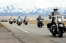 Kim Raff   The Salt Lake Tribune Riders drive the final leg after making a pit stop Sunday at the Miller Motorsports Park in Granstville during the 35th annual Polar Bear Ride to celebrate the 70th anniversary of the Salt Lake Motorcycle Club.