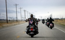 Kim Raff     The Salt Lake Tribune Riders drive toward the Miller Motorsports Park in Grantsville on Sunday during the 35th annual Polar Bear Ride to celebrate the 70th anniversary of the Salt Lake Motorcycle Club.