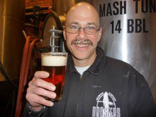 Brewmaster, Steve Kirkland, sports a nice 'stache for the