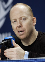 Cincinnati head coach Mick Cronin answers a question during a news conference at an NCAA college basketball tournament on Saturday, March 17, 2012, in Nashville, Tenn. Cincinnati is scheduled to face Florida State in a third-round game on Sunday. (AP Photo/Mark Humphrey)