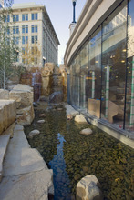AAl Hartmann   |  The Salt Lake Tribune  The new mall has no shortage of dramatic elements, including two 18-foot waterfalls and a 1,200-foot re-creation of its namesake City Creek that runs the length of the mall.